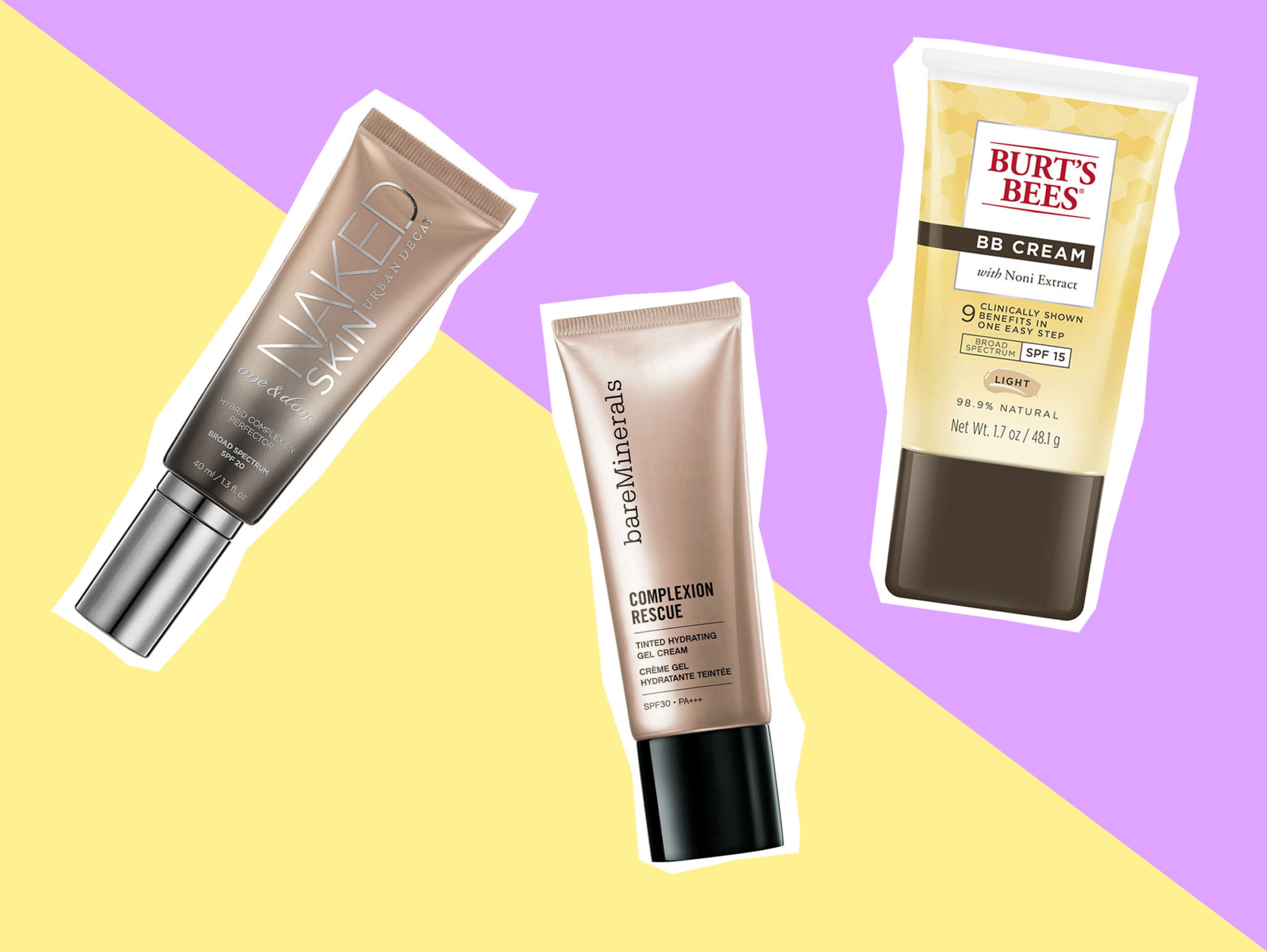 On pic: Urban Decay Naked Skin All in One, Bare Minerals Complexion Rescue,  Burt's Bee BB Cream.